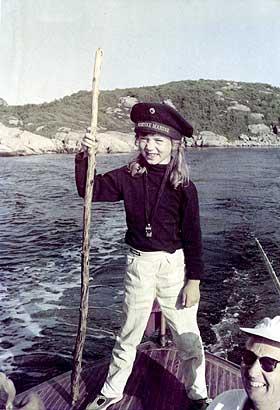 BÅTTUR: Åtte år gamle Ingrid med Pappa Mentz på Sørlandet.