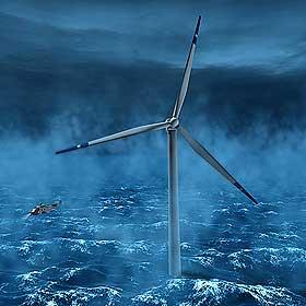 GOD PLASS OFFSHORE: Fordelene ved å sette møllene til havs er at det blåser mer, sjenerer mindre og kan forsyne oljeplattformene med rein strøm.