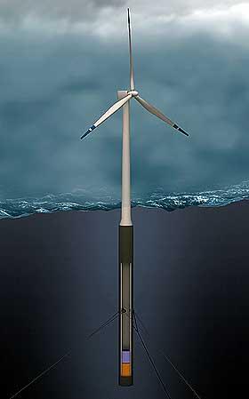 FLYTENDE: Hydros HyWind-konsept innebærer en flytende turbin som er ankret til havbunnen og holder seg stabil i vannet.