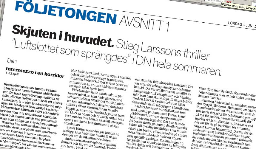 PDF-BOK: Dagens Nyheter legger ut s�kalte pdf-filer av den siste krimromanen til Stieg Larsson. De er tilgjengelig gratis for alle.