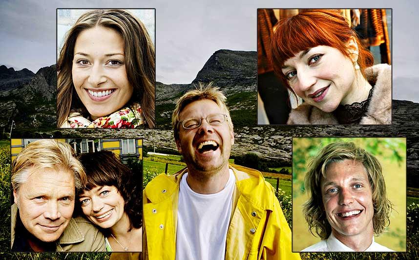 STILLER OPP FOR LANGELAND: Kim Haugen, Gisken Armand, Pia Tjelta, Andrea Br�in Hovig og Espen Klouman H�iner er blant skuespillerne som dramatiserer f�rste kapittel i Henrik Langelands (midten) bok i kveld, live p� Dagbladet.no.