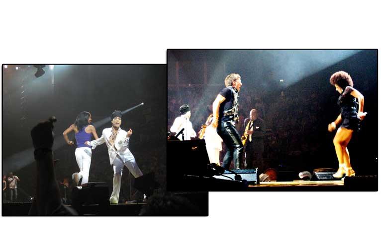 DANSEFEBER: Petter Stordalen var blant publikummerne som ble plukket ut til � danse p� scenen sammen med Prince og hans dansere p� scenen i London l�rdag.