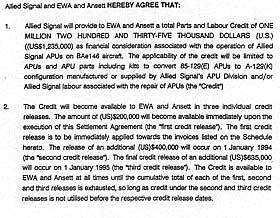 HEMMELIG AVTALE: Allied Signal, nå flyindustrigiganten Honeywell, inngikk også millionforlik med flyselskapene Ansett og EWA.