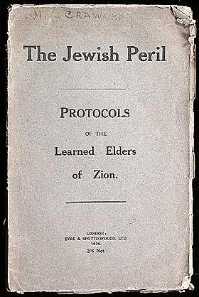 SIONS VISES PROTOKOLLER: Skriftet fra 1905 avsl�rer en angivelig hemmelig plan om j�disk verdensherred�mme.  Det er grundig dokumentert at verket er en forfalskning, men det har fortsatt politisk kraft, s�rlig i Midt-�sten. J�der og frimurere har f�tt skylden for mye av konspirasjonsteoretikere.