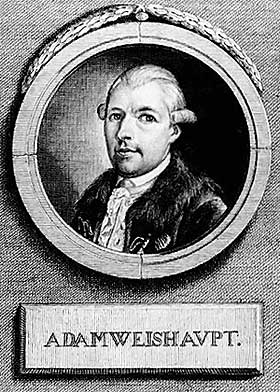 STIFTET ILLUMINATUS: Tyskeren Adam Weishaupt stiftet selskapet Illuminatus i 1776. Det fikk aldri mer enn maksimalt 2500 medlemmer, og d�de etter f� �r. I folketroen finnes det imidlertid fortsatt.
