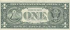 P� DOLLARSEDDEL: If�lge konspirasjonsteorien var flere amerikanske toppfolk, som Thomas Jefferson, med i Illuminatus. Roosevelts New Deal ble markert med symbolet, hevdet de, og New Deal var ikke annet enn et fors�k p� � realisere Illuminatus' fors�k p� � ta over verden.