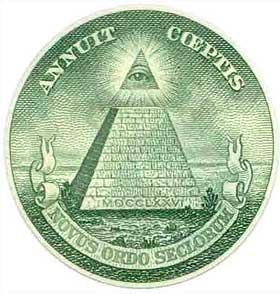 �YET I PYRAMIDEN: P� de amerikanske endollarsedlene er det p� baksiden trykket en pyramide med et �ye p� toppen og en latinsk innskrift. If�lge konspirasjonsteoretikere er dette Illuminatus' sentrale symbol. De sporer tegnet tilbake til Weishaupt og stiftelsen av Illuminati.