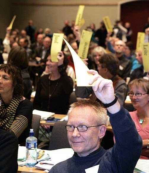 VANT: Arne Backer Gr�nnings�ter som lever i homofilt partnerskap holder opp sin stemme under voteringen fredag. Hans syn seiret stort i avstmmingen.