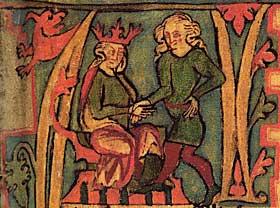 VIKINGTID: Her mottar Harald H�rfagre konged�mmet ut av sin fars h�nd. Til forskjell fra Ottars beretning, som er fortalt av en som levde i vikingetida, er de andre kildene vi har til perioden flere hundre �r yngre. Flateyjarbok er kilden her, og den ble skrevet p� 1300-tallet.
