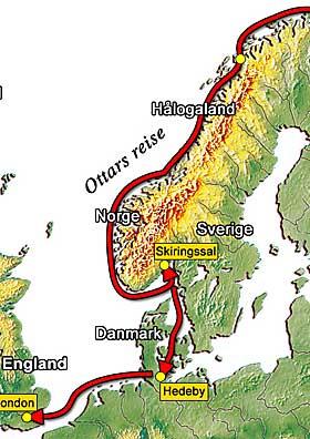 OTTARS REISE: Brukte en m�ned fra H�logaland i nord til Kaupang i s�r. Seilte videre til England, hvor han m�tte kong Alfred og fortalte.