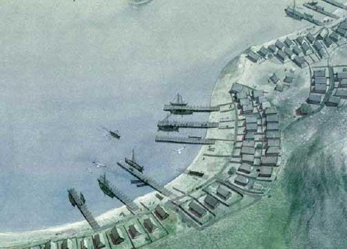 NORGES F�RSTE HOVEDSTAD: Skiringssal ved g�rden Kaupang midt p� 800-tallet. Dette ble Norges f�rste by, et handelssentrum for mange nasjonaliteter. Skiringssal l� seks kilometer utenfor Larvik og ble antakelig grunnlagt og kanskje ogs� styrt av danene.