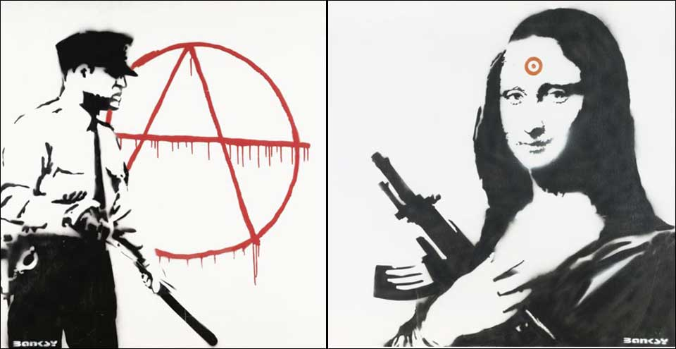 TJENTE MILLIONER: En 30-�ring fra Bergen har f�tt over tre millioner kroner for disse Banksy-bildene.