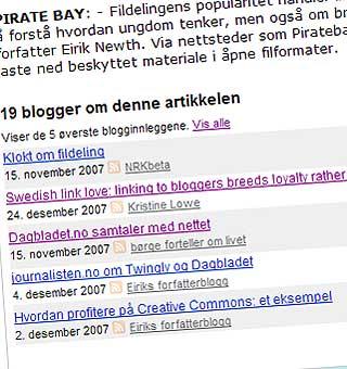 SÅNN SER DET UT: Linken til bloggen din vises nederst i artikkelen.