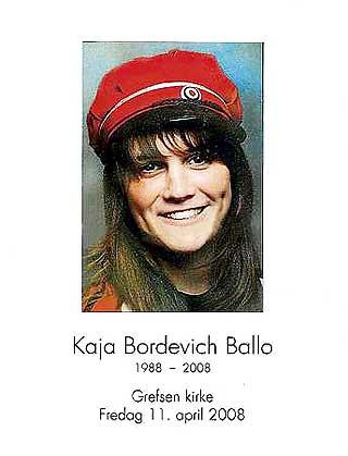 BLE BARE 20: Kaja Bordevich Ballo slet med spiseforstyrrelser fra hun var 13 til hun var 15. Men de siste �rene var franskstudenten frisk, med godt hum�r og masse venner. I Grefsen kirke p� fredag ble blant annet Pink Floyd-sangen �Wish you were here� spilt.