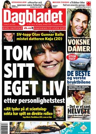 DAGBLADET I DAG: Kaja tok sitt eget liv etter personlighetstest.
