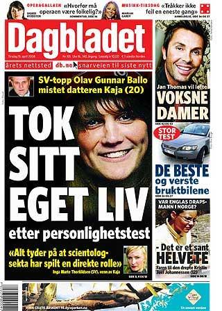 DAGBLADET: Omstendighetene rundt selvmordet til Kaja Bordevich Ballo (20) var hovedoppslaget i b�de VG og Dagbladet i dag.