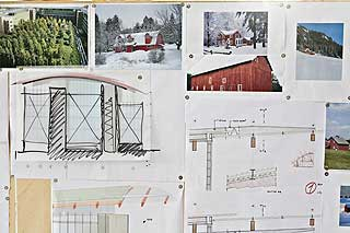 Inspirasjon: På en tavle henger Pianos skisser og inspirasjonskilder. Her erbilder av rødmalte svenske stugor, norske låver og nordiske trehus i hvit snø.