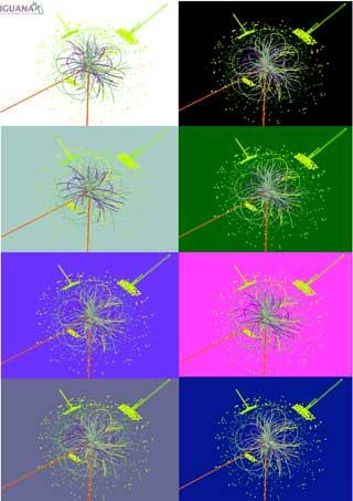 HIGGS BOSON: Grafikk som viser en datasimulering av forekomsten av Higgs boson, en hypotetisk elementærpartikkel som forskerne håper skal dukke opp etter protonkollisjonene i morgen. Foto: CERN