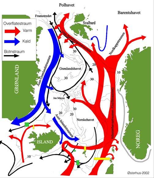 GOLFSTR�MMEN: Illustrasjonen viser hvor havstr�mmene g�r.