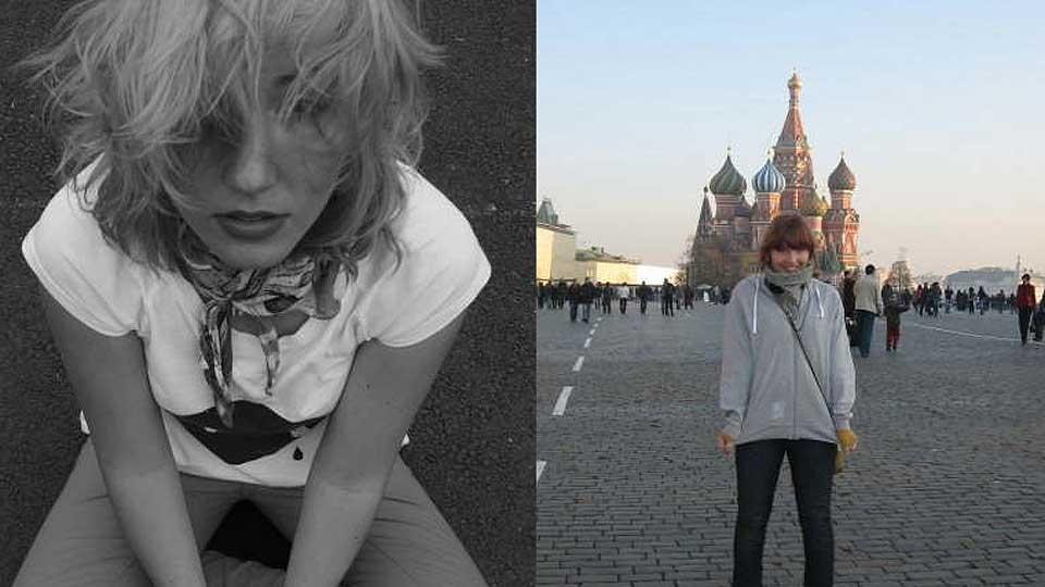 M�NEDENS POET: Kristina Leganger (19) i to utgaver; en i svart/hvitt, en i Moskva.