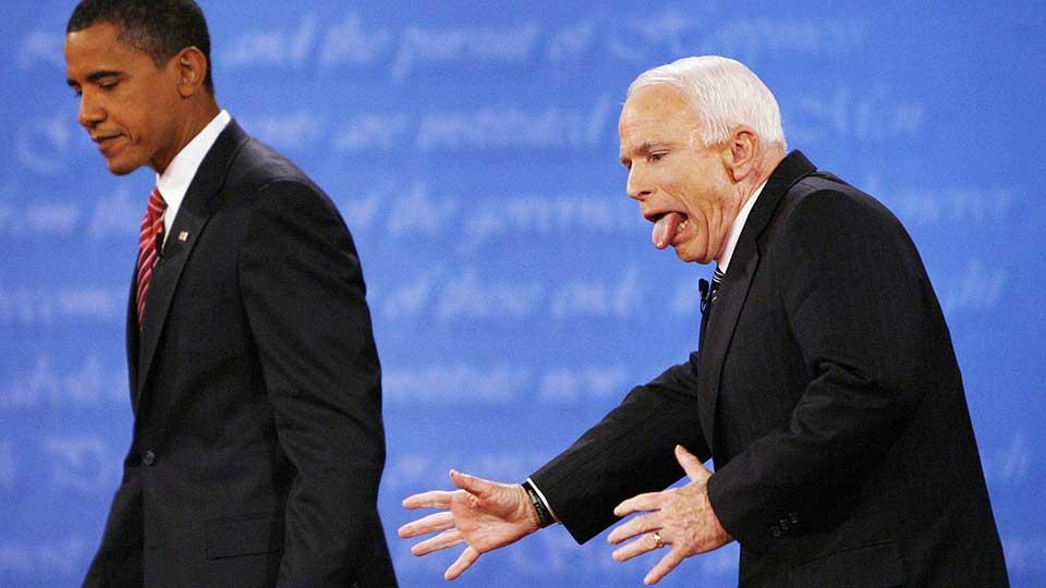 Reuters' Jim Bourg tok bildet etter debatten mellom Obama og McCain.