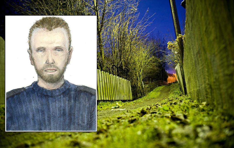 VOLDTOK SEKSÅRING: På denne gangstien på Skjetten på Romerike tok gjerningsmannen i 2008 med seg ei seks år gammel jente og begikk overgrep mot henne i en hage mens han tok bilder. Fantomtegningen er utarbeidet etter at samme mann begikk en overfallsvoldtekt i Oslo i oktober i år. Foto: BENJAMIN A. WARD Tegning: POLITIET