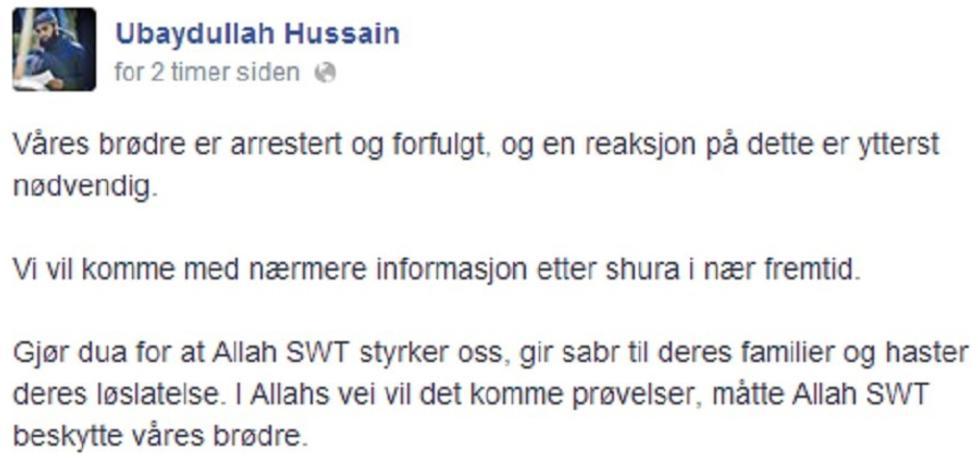 TRUSLER? Slik ser meldingen ut som Ubaydullah Hussain postet på Facebook. Foto: Skjermdump fra Facebook