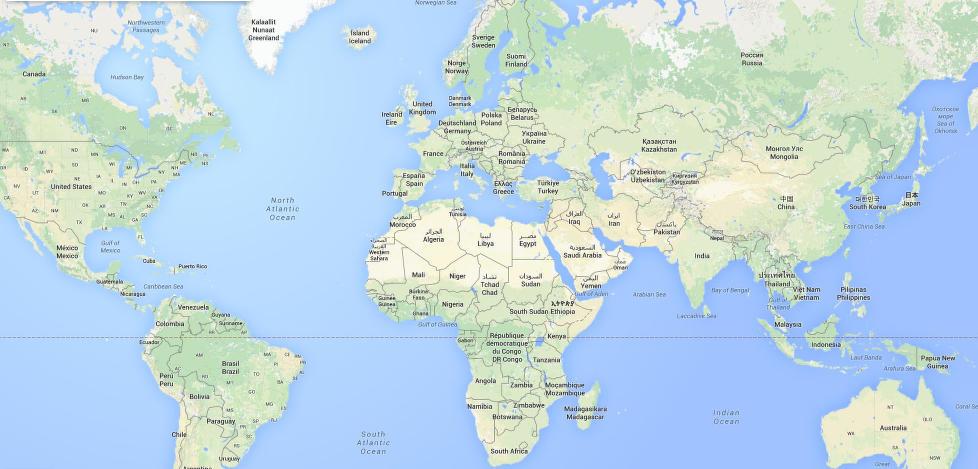Verdenskart med land